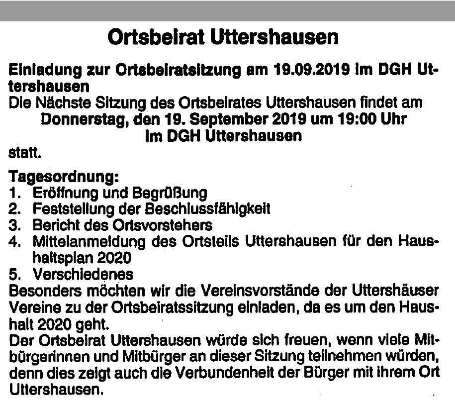 Ortsbeirat Uttershausen 19.09.2019