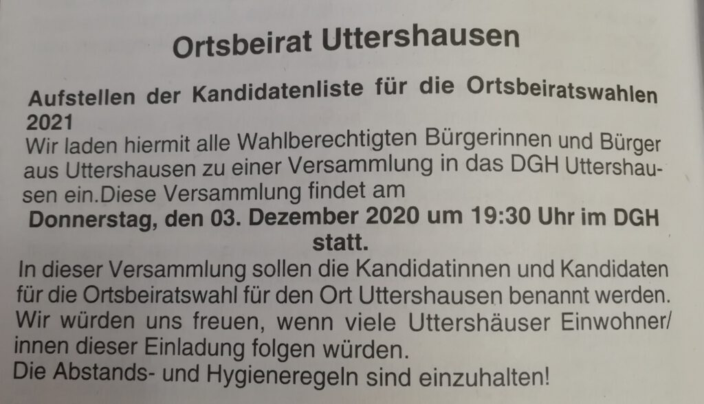Ortsbeirat Uttershausen. 3.12.2020